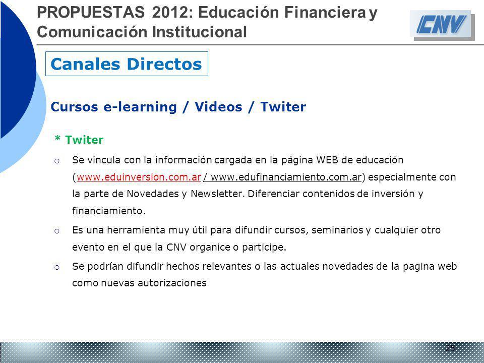 * Twiter Se vincula con la información cargada en la página WEB de educación (www.eduinversion.com.ar / www.edufinanciamiento.com.ar) especialmente co