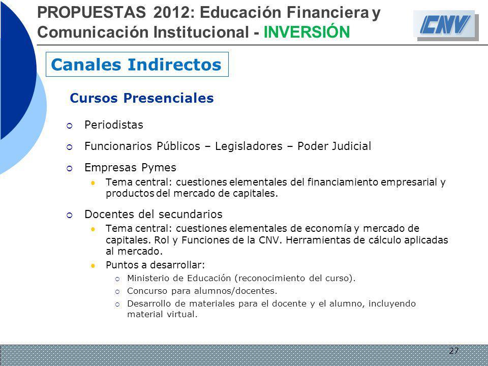 Cursos Presenciales Periodistas Funcionarios Públicos – Legisladores – Poder Judicial Empresas Pymes Tema central: cuestiones elementales del financia