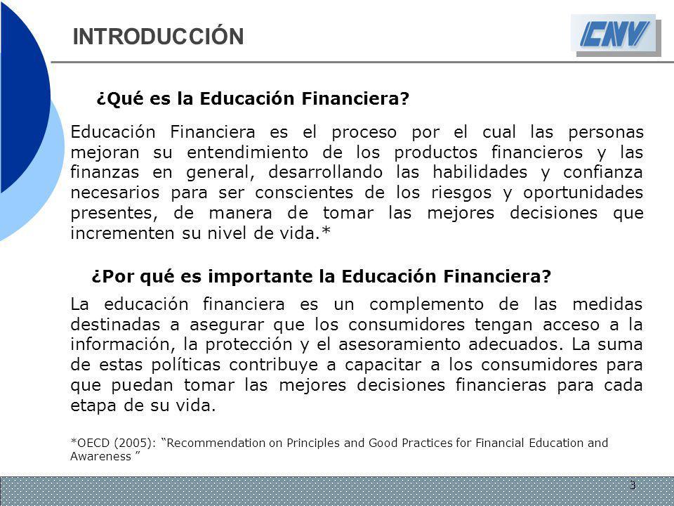 INTRODUCCIÓN ¿Qué es la Educación Financiera? Educación Financiera es el proceso por el cual las personas mejoran su entendimiento de los productos fi