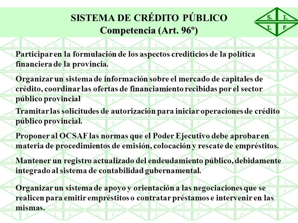 S.I. I. F. SISTEMA DE CRÉDITO PÚBLICO Competencia (Art. 96º) Participar en la formulación de los aspectos crediticios de la política financiera de la