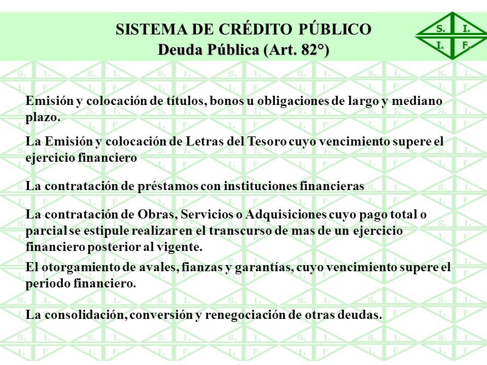S.I. I. F. SISTEMA DE CRÉDITO PÚBLICO Deuda Pública (Art. 82°) Emisión y colocación de títulos, bonos u obligaciones de largo y mediano plazo. La Emis