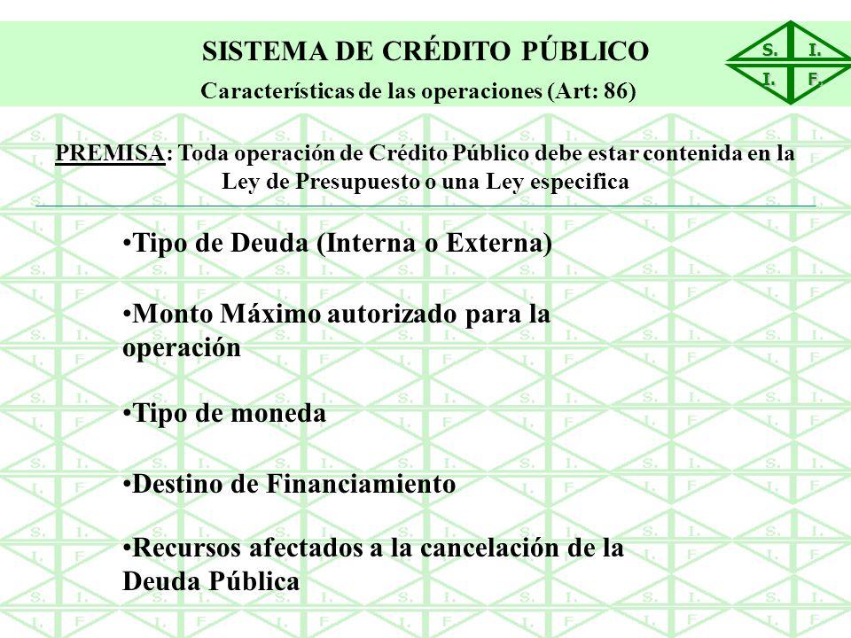 S.I. I. F. SISTEMA DE CRÉDITO PÚBLICO Características de las operaciones (Art: 86) Tipo de Deuda (Interna o Externa) Monto Máximo autorizado para la o
