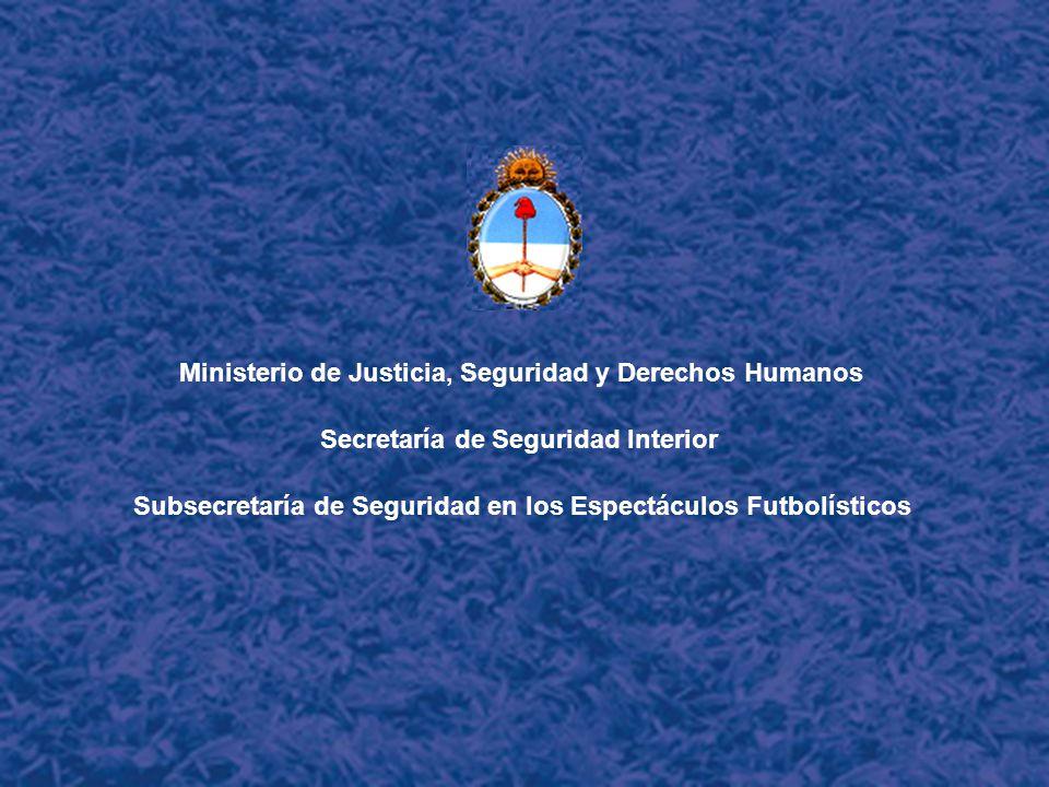 Ministerio de Justicia, Seguridad y Derechos Humanos Secretaría de Seguridad Interior Subsecretaría de Seguridad en los Espectáculos Futbolísticos