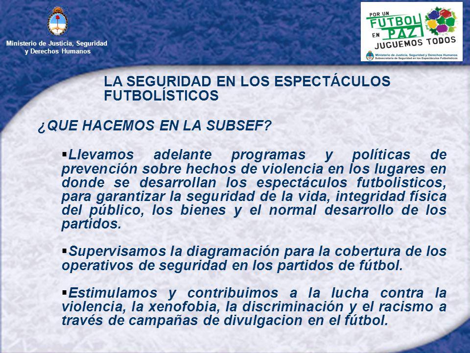 Ministerio de Justicia, Seguridad y Derechos Humanos LA SEGURIDAD EN LOS ESPECTÁCULOS FUTBOLÍSTICOS ¿QUE HACEMOS EN LA SUBSEF.
