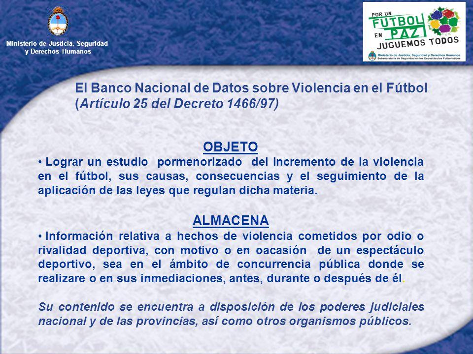 Ministerio de Justicia, Seguridad y Derechos Humanos El Banco Nacional de Datos sobre Violencia en el Fútbol (Artículo 25 del Decreto 1466/97) OBJETO Lograr un estudio pormenorizado del incremento de la violencia en el fútbol, sus causas, consecuencias y el seguimiento de la aplicación de las leyes que regulan dicha materia.