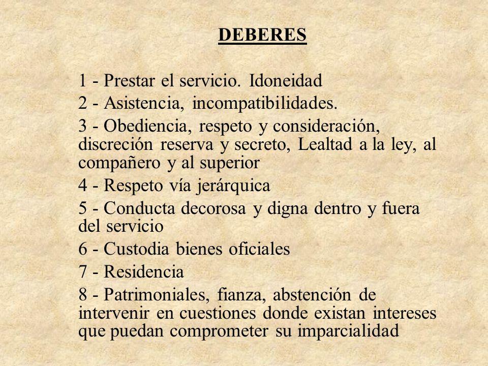 DEBERES 1 - Prestar el servicio. Idoneidad 2 - Asistencia, incompatibilidades. 3 - Obediencia, respeto y consideración, discreción reserva y secreto,