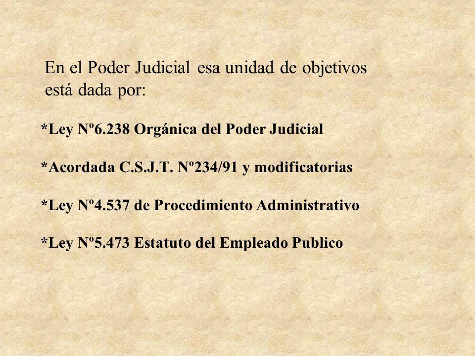 En el Poder Judicial esa unidad de objetivos está dada por: *Ley Nº6.238 Orgánica del Poder Judicial *Acordada C.S.J.T. Nº234/91 y modificatorias *Ley