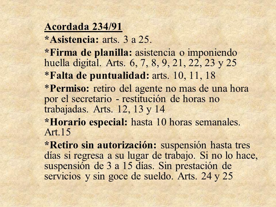 Acordada 234/91 *Asistencia: arts. 3 a 25. *Firma de planilla: asistencia o imponiendo huella digital. Arts. 6, 7, 8, 9, 21, 22, 23 y 25 *Falta de pun