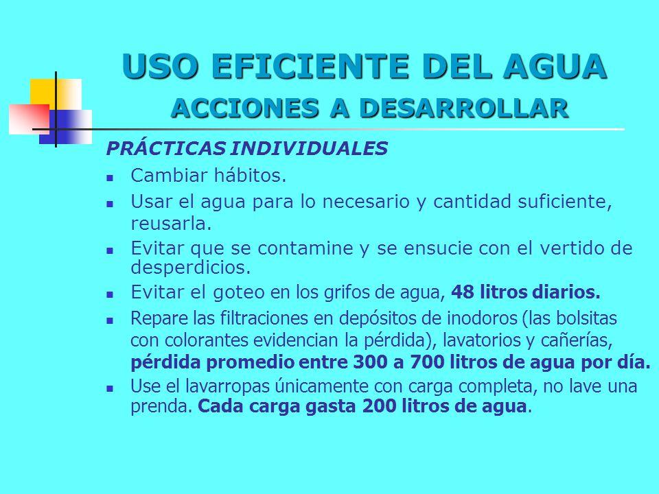 USO EFICIENTE DEL AGUA ACCIONES A DESARROLLAR PRÁCTICAS INDIVIDUALES Cambiar hábitos. Usar el agua para lo necesario y cantidad suficiente, reusarla.