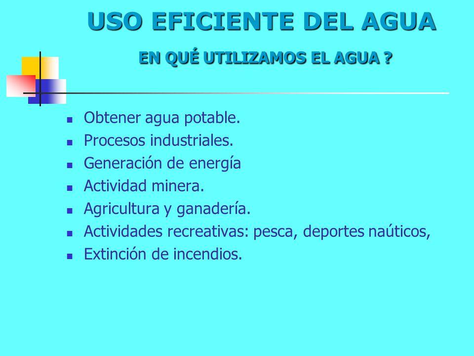 USO EFICIENTE DEL AGUA EN QUÉ UTILIZAMOS EL AGUA ? Obtener agua potable. Procesos industriales. Generación de energía Actividad minera. Agricultura y