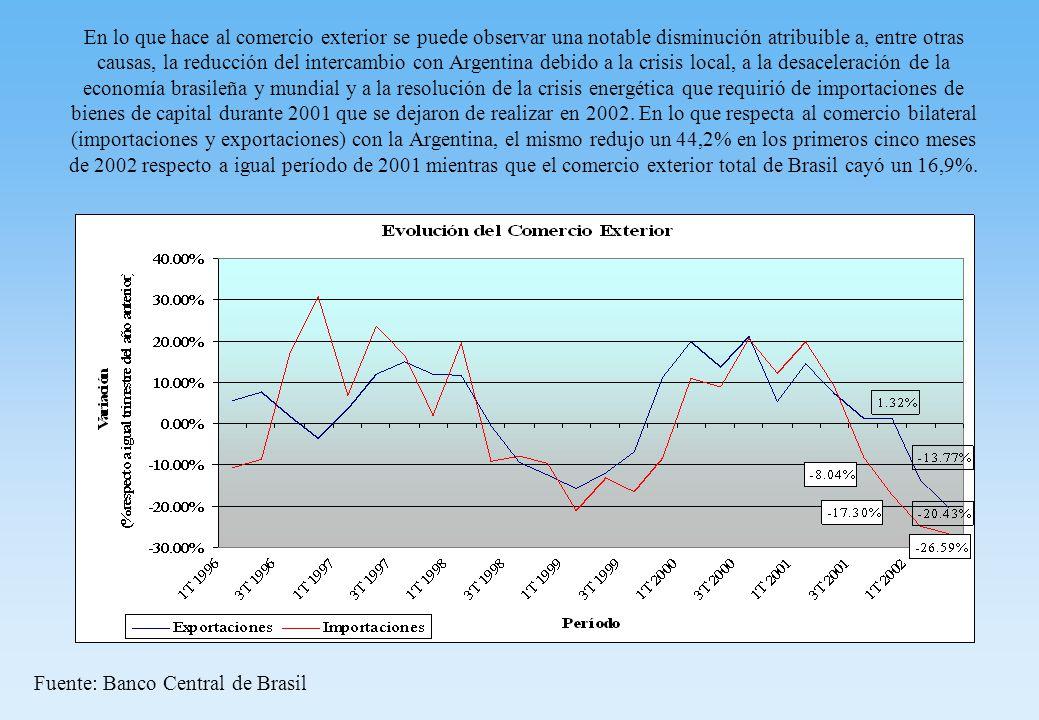 En lo que hace al comercio exterior se puede observar una notable disminución atribuible a, entre otras causas, la reducción del intercambio con Argentina debido a la crisis local, a la desaceleración de la economía brasileña y mundial y a la resolución de la crisis energética que requirió de importaciones de bienes de capital durante 2001 que se dejaron de realizar en 2002.