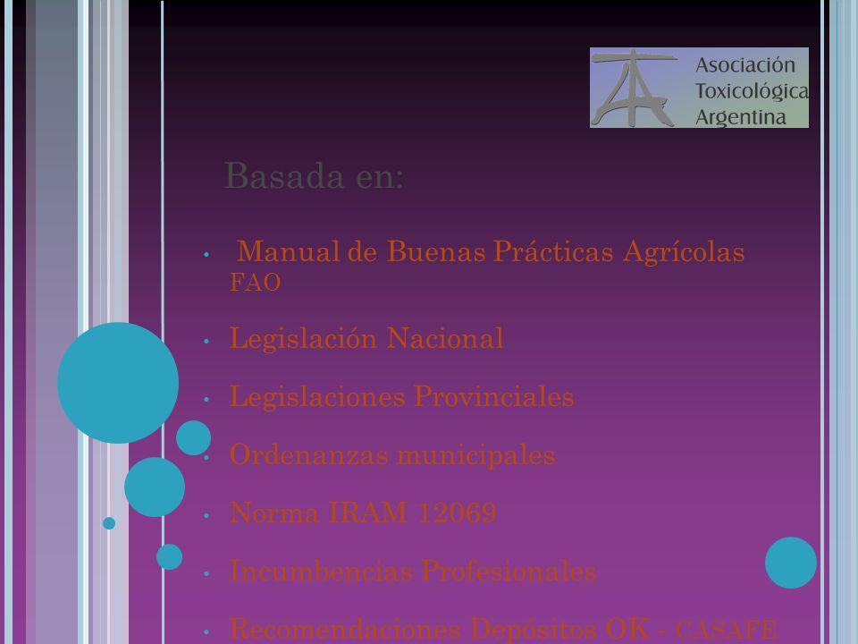 22/07/10 Basada en: Manual de Buenas Prácticas Agrícolas FAO Legislación Nacional Legislaciones Provinciales Ordenanzas municipales Norma IRAM 12069 I