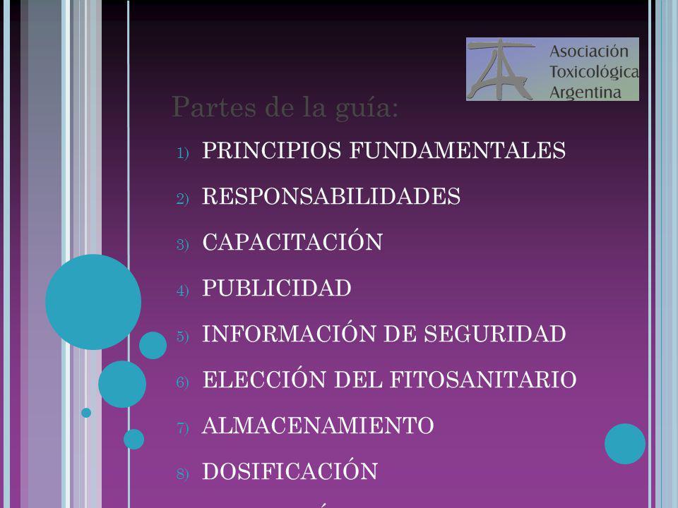 22/07/10 Partes de la guía: 1) PRINCIPIOS FUNDAMENTALES 2) RESPONSABILIDADES 3) CAPACITACIÓN 4) PUBLICIDAD 5) INFORMACIÓN DE SEGURIDAD 6) ELECCIÓN DEL