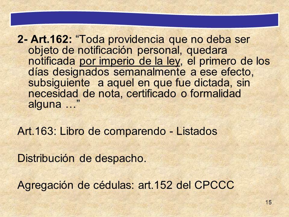 15 2- Art.162: Toda providencia que no deba ser objeto de notificación personal, quedara notificada por imperio de la ley, el primero de los días desi
