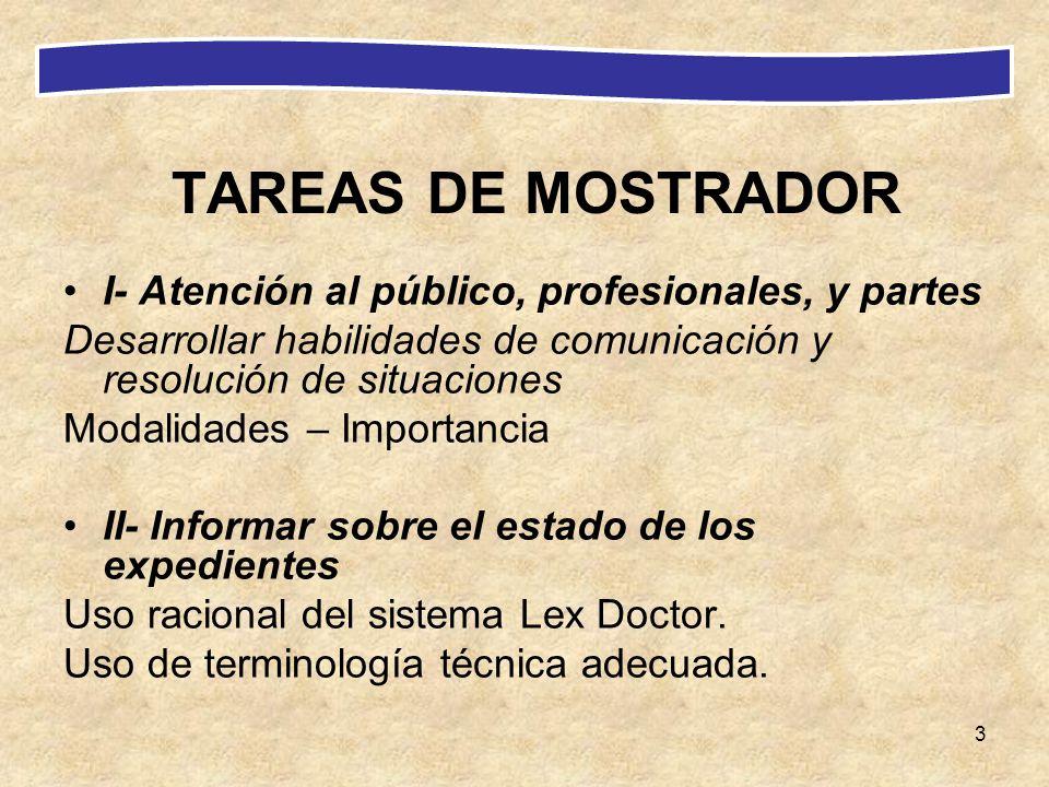 3 TAREAS DE MOSTRADOR I- Atención al público, profesionales, y partes Desarrollar habilidades de comunicación y resolución de situaciones Modalidades