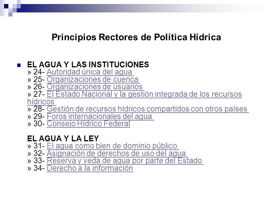 EL AGUA Y LAS INSTITUCIONES » 24- Autoridad única del agua » 25- Organizaciones de cuenca » 26- Organizaciones de usuarios » 27- El Estado Nacional y