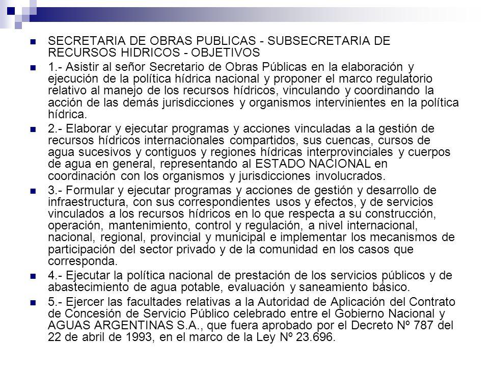 SECRETARIA DE OBRAS PUBLICAS - SUBSECRETARIA DE RECURSOS HIDRICOS - OBJETIVOS 6.- Asistir al señor Secretario de Obras Públicas en la supervisión del ORGANO REGULADOR DE SEGURIDAD DE PRESAS (ORSEP), del ENTE TRIPARTITO DE OBRAS Y SERVICIOS SANITARIOS (ETOSS) y del ENTE NACIONAL DE OBRAS HIDRICAS DE SANEAMIENTO (ENOHSA).