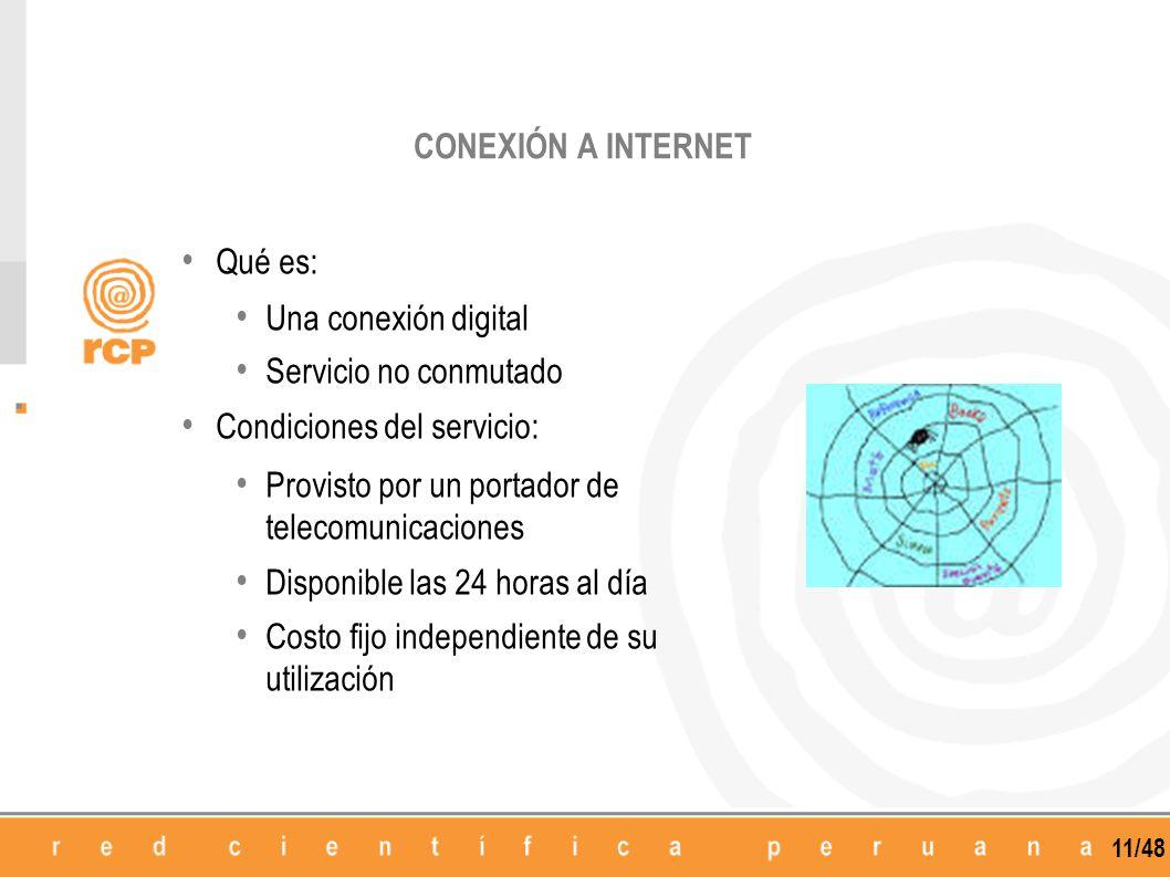 11/48 Qué es: Una conexión digital Servicio no conmutado Condiciones del servicio: Provisto por un portador de telecomunicaciones Disponible las 24 ho