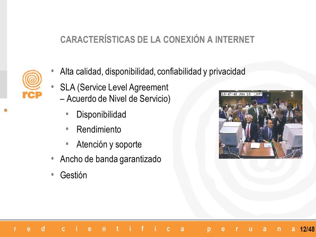 12/48 Alta calidad, disponibilidad, confiabilidad y privacidad SLA (Service Level Agreement – Acuerdo de Nivel de Servicio) Disponibilidad Rendimiento