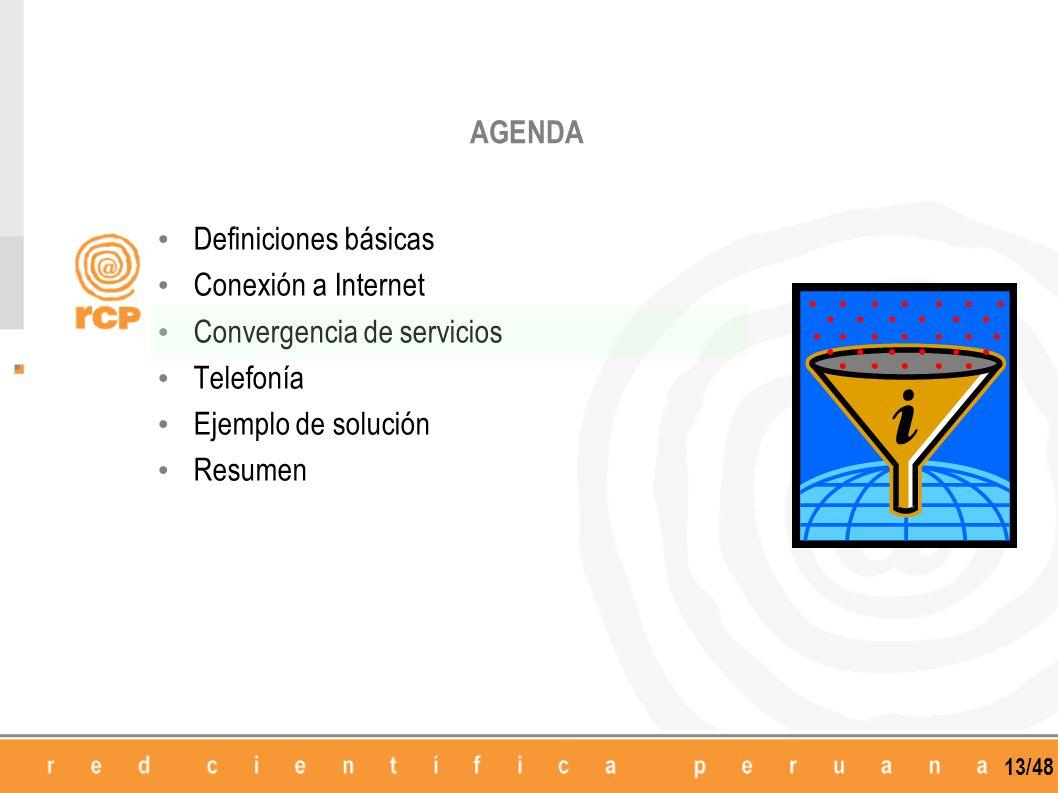 13/48 AGENDA Definiciones básicas Conexión a Internet Convergencia de servicios Telefonía Ejemplo de solución Resumen