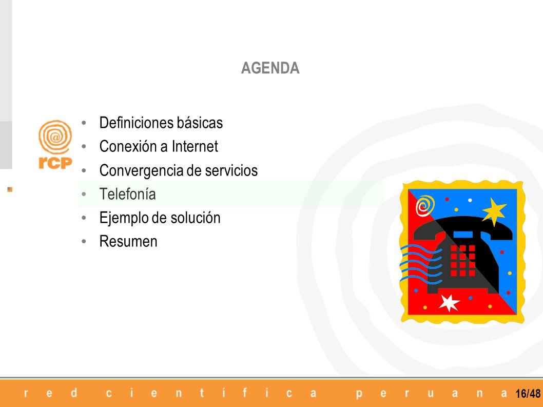 16/48 AGENDA Definiciones básicas Conexión a Internet Convergencia de servicios Telefonía Ejemplo de solución Resumen