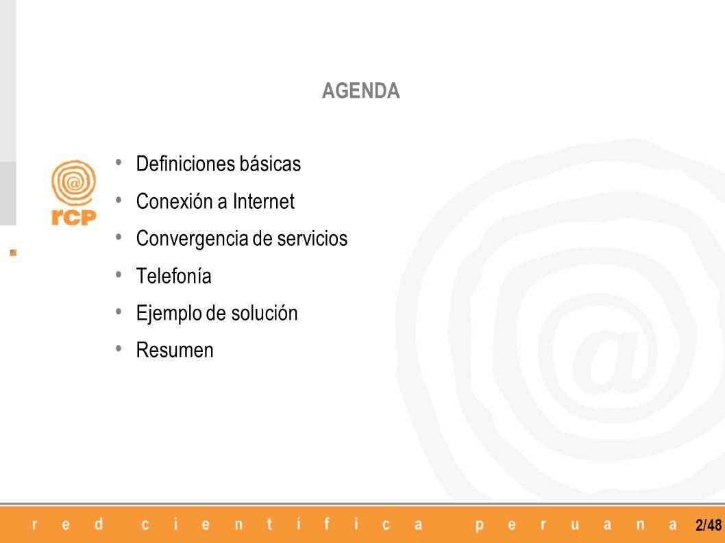 2/48 Definiciones básicas Conexión a Internet Convergencia de servicios Telefonía Ejemplo de solución Resumen AGENDA
