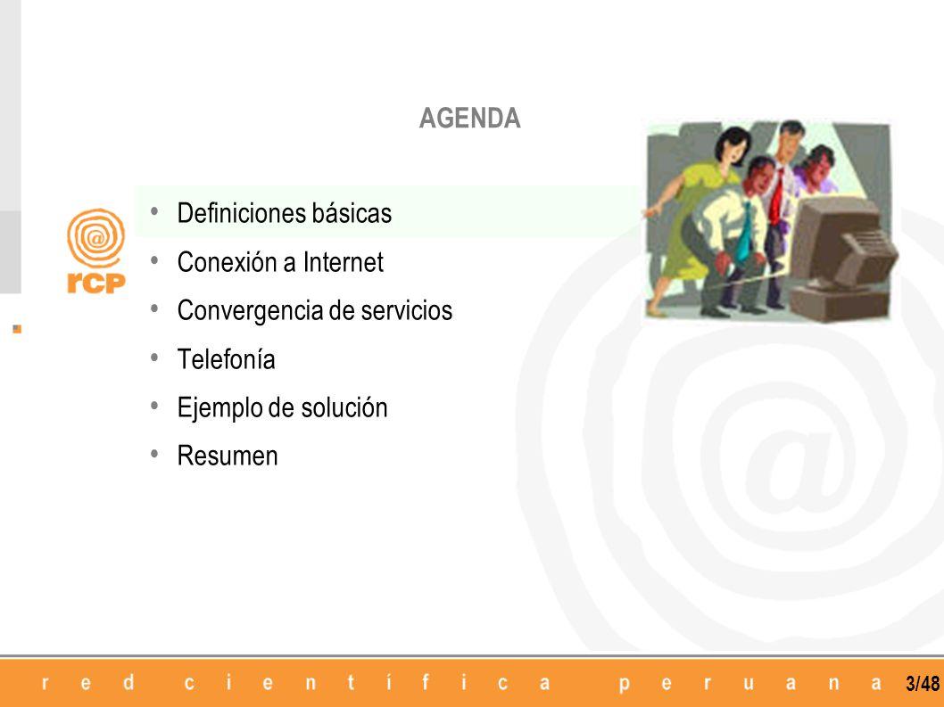 3/48 Definiciones básicas Conexión a Internet Convergencia de servicios Telefonía Ejemplo de solución Resumen AGENDA