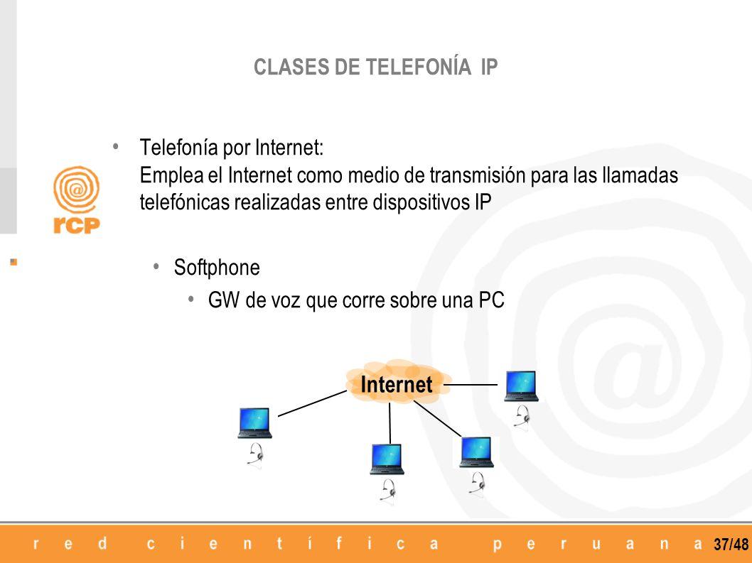 37/48 Telefonía por Internet: Emplea el Internet como medio de transmisión para las llamadas telefónicas realizadas entre dispositivos IP Softphone GW