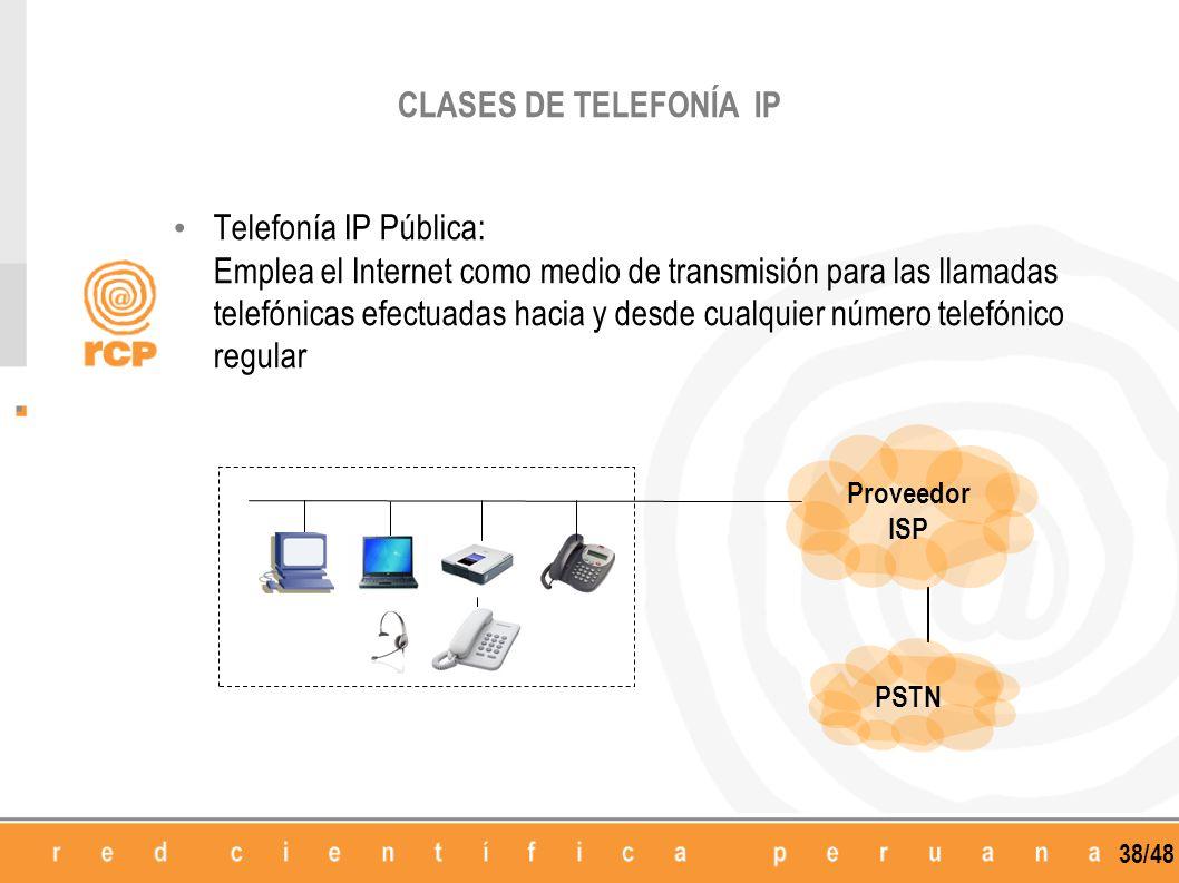 38/48 Telefonía IP Pública: Emplea el Internet como medio de transmisión para las llamadas telefónicas efectuadas hacia y desde cualquier número telef