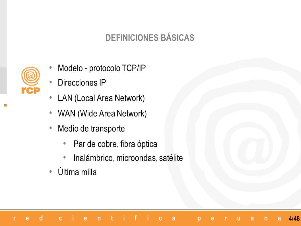 4/48 Modelo - protocolo TCP/IP Direcciones IP LAN (Local Area Network) WAN (Wide Area Network) Medio de transporte Par de cobre, fibra óptica Inalámbr