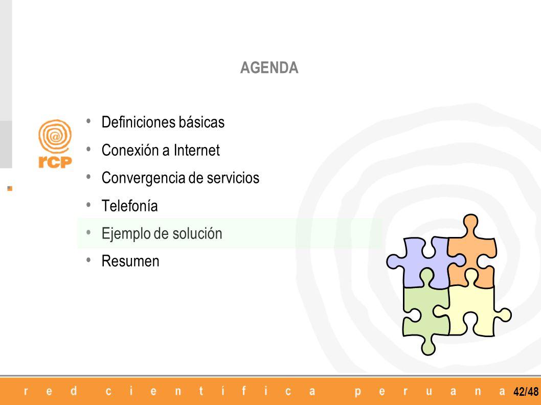 42/48 Definiciones básicas Conexión a Internet Convergencia de servicios Telefonía Ejemplo de solución Resumen AGENDA