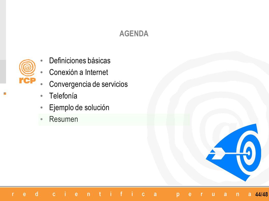44/48 AGENDA Definiciones básicas Conexión a Internet Convergencia de servicios Telefonía Ejemplo de solución Resumen