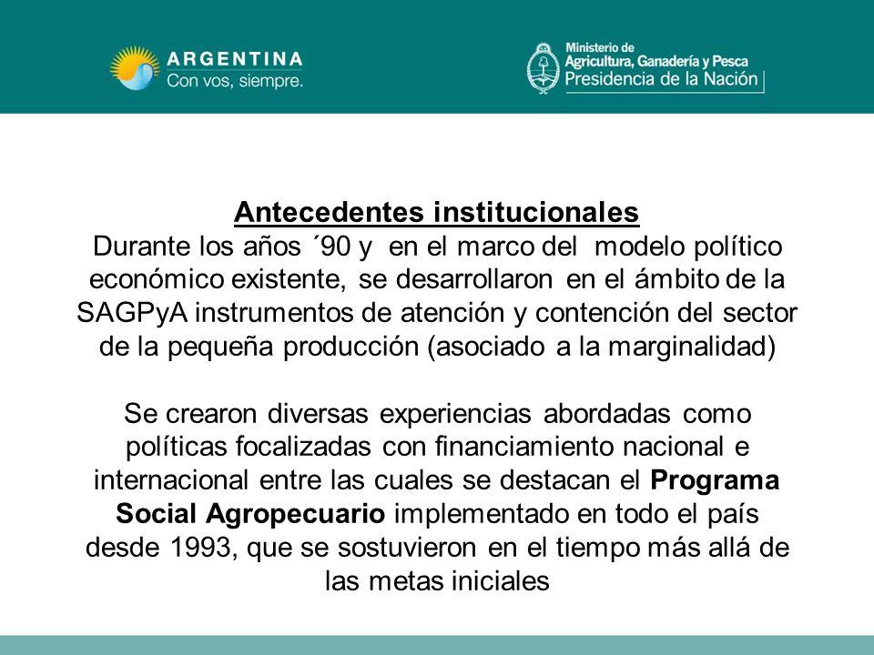 Antecedentes institucionales Durante los años ´90 y en el marco del modelo político económico existente, se desarrollaron en el ámbito de la SAGPyA in
