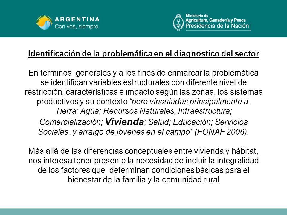 Identificación de la problemática en el diagnostico del sector En términos generales y a los fines de enmarcar la problemática se identifican variable