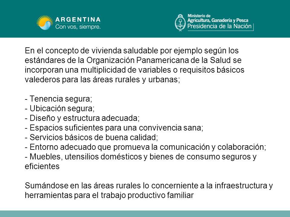 En el concepto de vivienda saludable por ejemplo según los estándares de la Organización Panamericana de la Salud se incorporan una multiplicidad de v