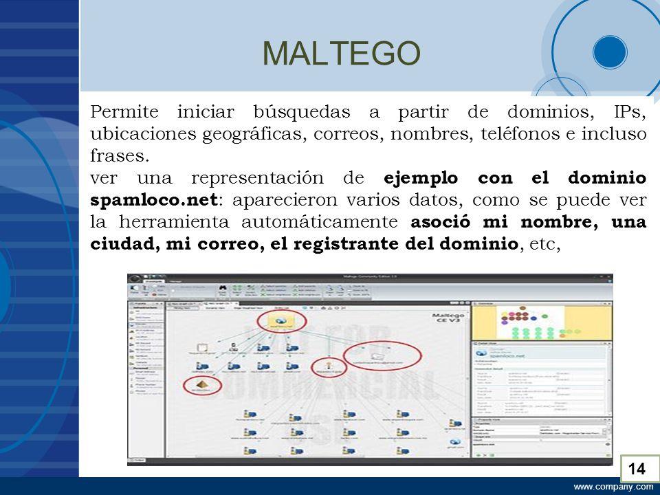 www.company.com MALTEGO Permite iniciar búsquedas a partir de dominios, IPs, ubicaciones geográficas, correos, nombres, teléfonos e incluso frases.