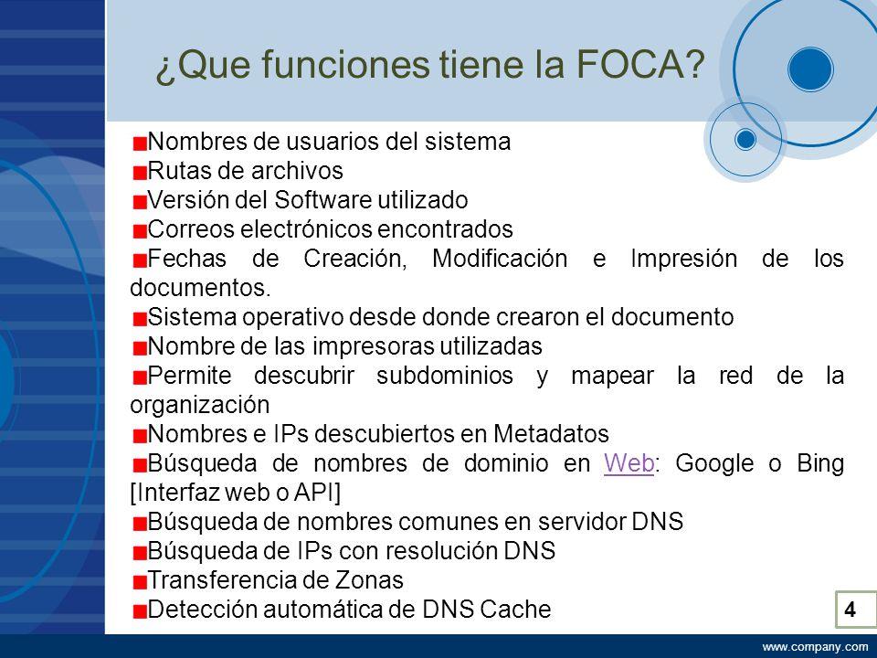 www.company.com ¿Que funciones tiene la FOCA.
