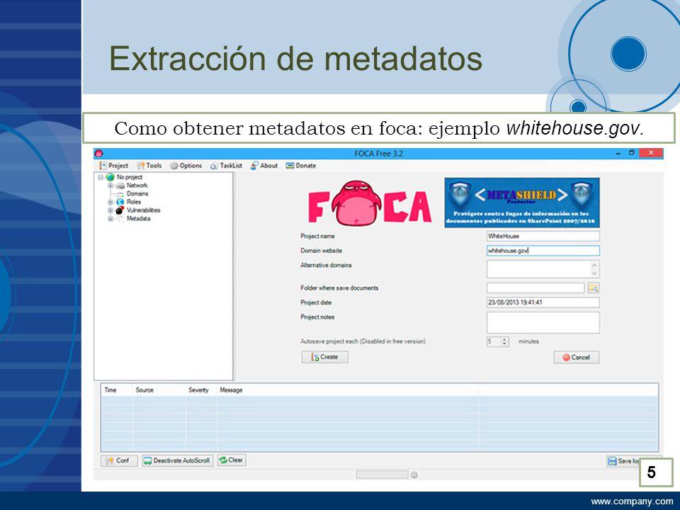 www.company.com Extracción de metadatos Como obtener metadatos en foca: ejemplo whitehouse.gov. 5