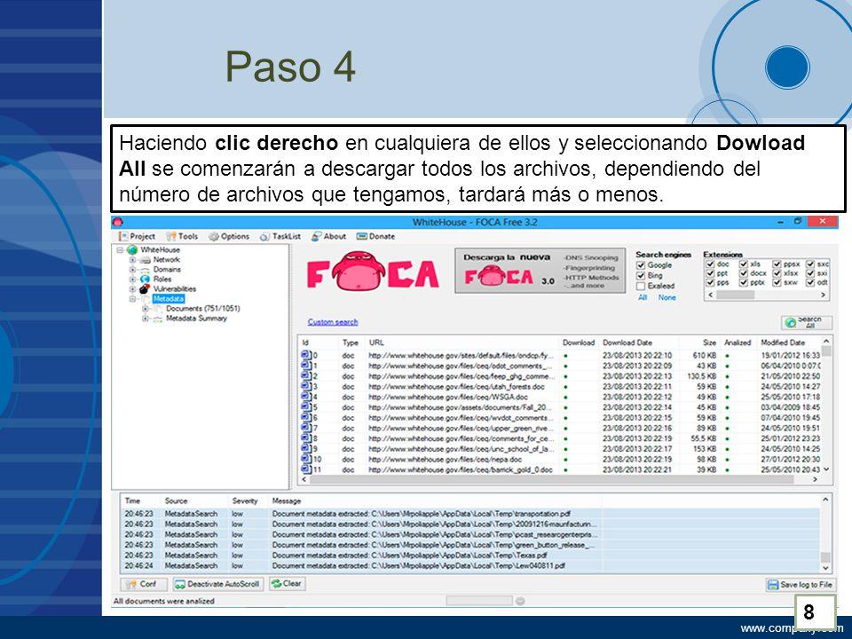 www.company.com Paso 4 Haciendo clic derecho en cualquiera de ellos y seleccionando Dowload All se comenzarán a descargar todos los archivos, dependiendo del número de archivos que tengamos, tardará más o menos.
