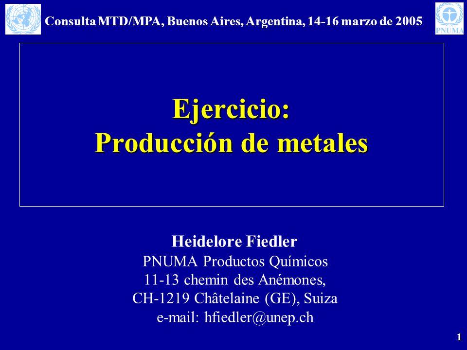 Consulta MTD/MPA, Buenos Aires, Argentina, 14-16 marzo de 2005 1 Ejercicio: Producción de metales Heidelore Fiedler PNUMA Productos Químicos 11-13 chemin des Anémones, CH-1219 Châtelaine (GE), Suiza e-mail: hfiedler@unep.ch
