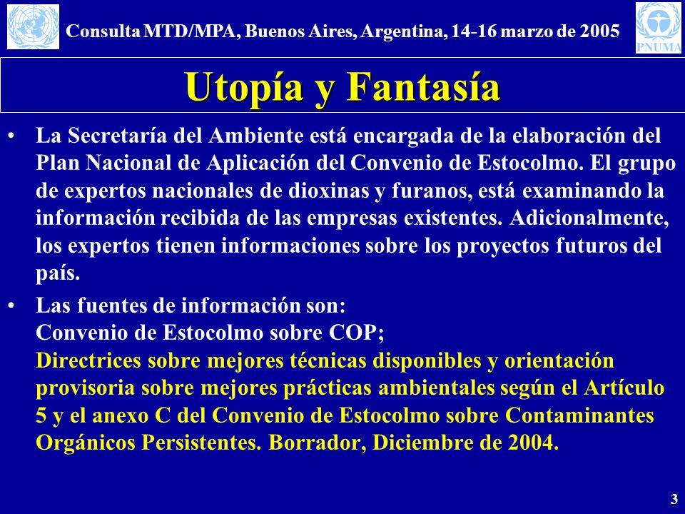 Consulta MTD/MPA, Buenos Aires, Argentina, 14-16 marzo de 2005 3 Utopía y Fantasía La Secretaría del Ambiente está encargada de la elaboración del Plan Nacional de Aplicación del Convenio de Estocolmo.