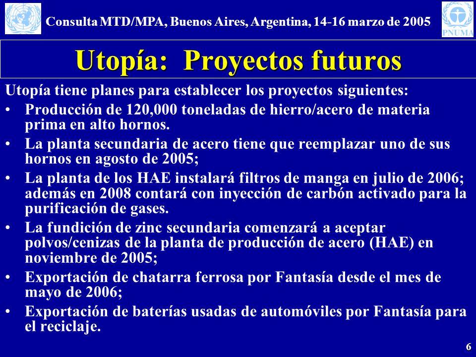 Consulta MTD/MPA, Buenos Aires, Argentina, 14-16 marzo de 2005 6 Utopía: Proyectos futuros Utopía tiene planes para establecer los proyectos siguientes: Producción de 120,000 toneladas de hierro/acero de materia prima en alto hornos.