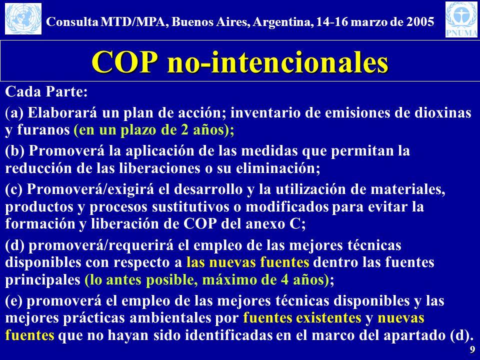 Consulta MTD/MPA, Buenos Aires, Argentina, 14-16 marzo de 2005 9 COP no-intencionales Cada Parte: (a) Elaborará un plan de acción; inventario de emisiones de dioxinas y furanos (en un plazo de 2 años); (b) Promoverá la aplicación de las medidas que permitan la reducción de las liberaciones o su eliminación; (c) Promoverá/exigirá el desarrollo y la utilización de materiales, productos y procesos sustitutivos o modificados para evitar la formación y liberación de COP del anexo C; (d) promoverá/requerirá el empleo de las mejores técnicas disponibles con respecto a las nuevas fuentes dentro las fuentes principales (lo antes posible, máximo de 4 años); (e) promoverá el empleo de las mejores técnicas disponibles y las mejores prácticas ambientales por fuentes existentes y nuevas fuentes que no hayan sido identificadas en el marco del apartado (d).