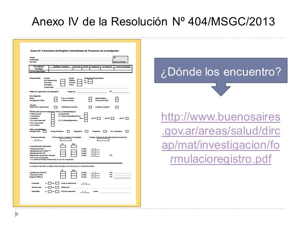 Anexo IV de la Resolución Nº 404/MSGC/2013 ¿Dónde los encuentro? http://www.buenosaires.gov.ar/areas/salud/dirc ap/mat/investigacion/fo rmulacioregist