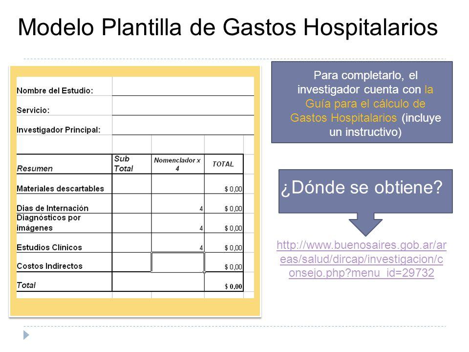 Modelo Plantilla de Gastos Hospitalarios ¿Dónde se obtiene? http://www.buenosaires.gob.ar/ar eas/salud/dircap/investigacion/c onsejo.php?menu_id=29732