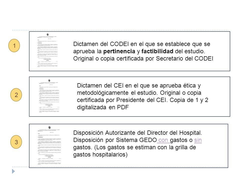 Dictamen del CODEI en el que se establece que se aprueba la pertinencia y factibilidad del estudio. Original o copia certificada por Secretario del CO