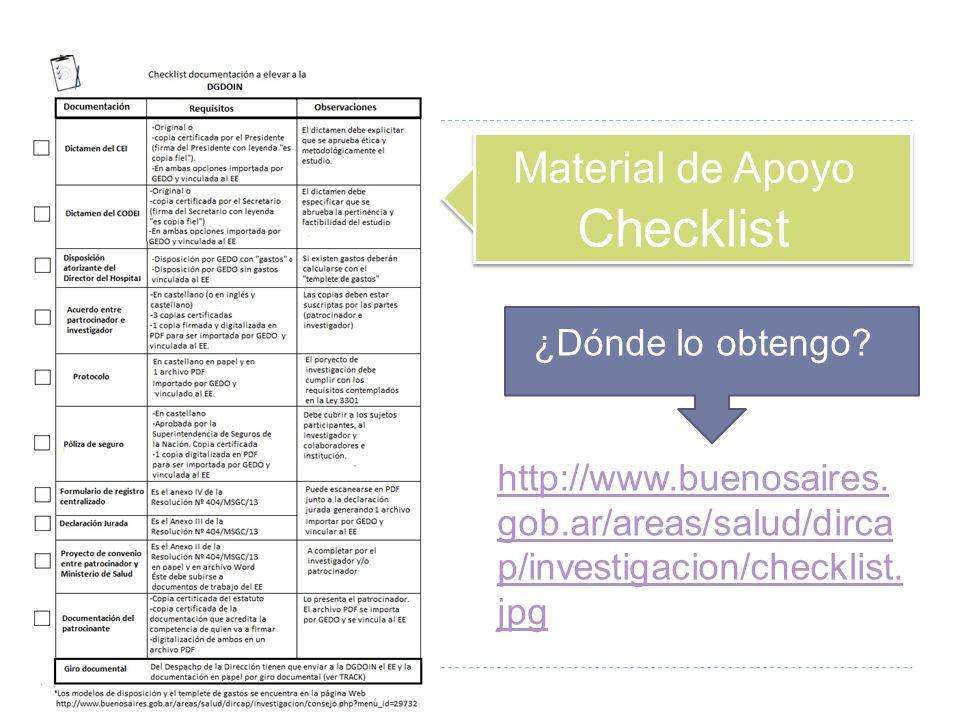 Material de Apoyo Checklist ¿Dónde lo obtengo? http://www.buenosaires. gob.ar/areas/salud/dirca p/investigacion/checklist. jpg