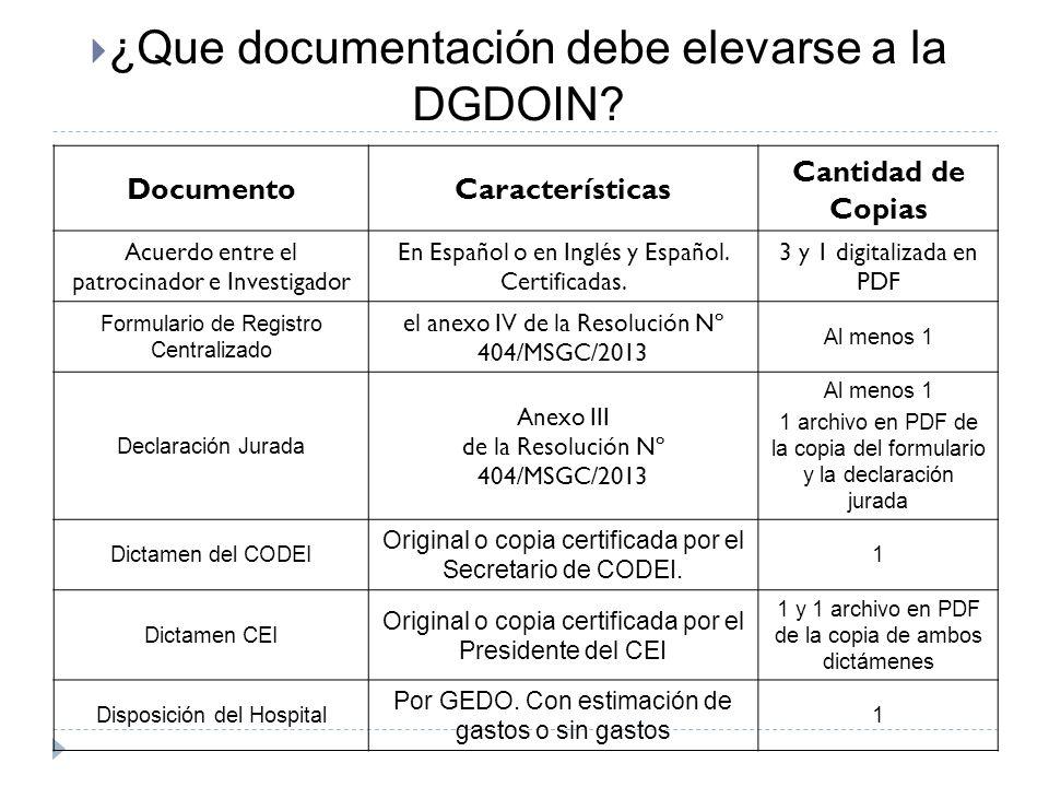 DocumentoCaracterísticas Cantidad de Copias Acuerdo entre el patrocinador e Investigador En Español o en Inglés y Español. Certificadas. 3 y 1 digital