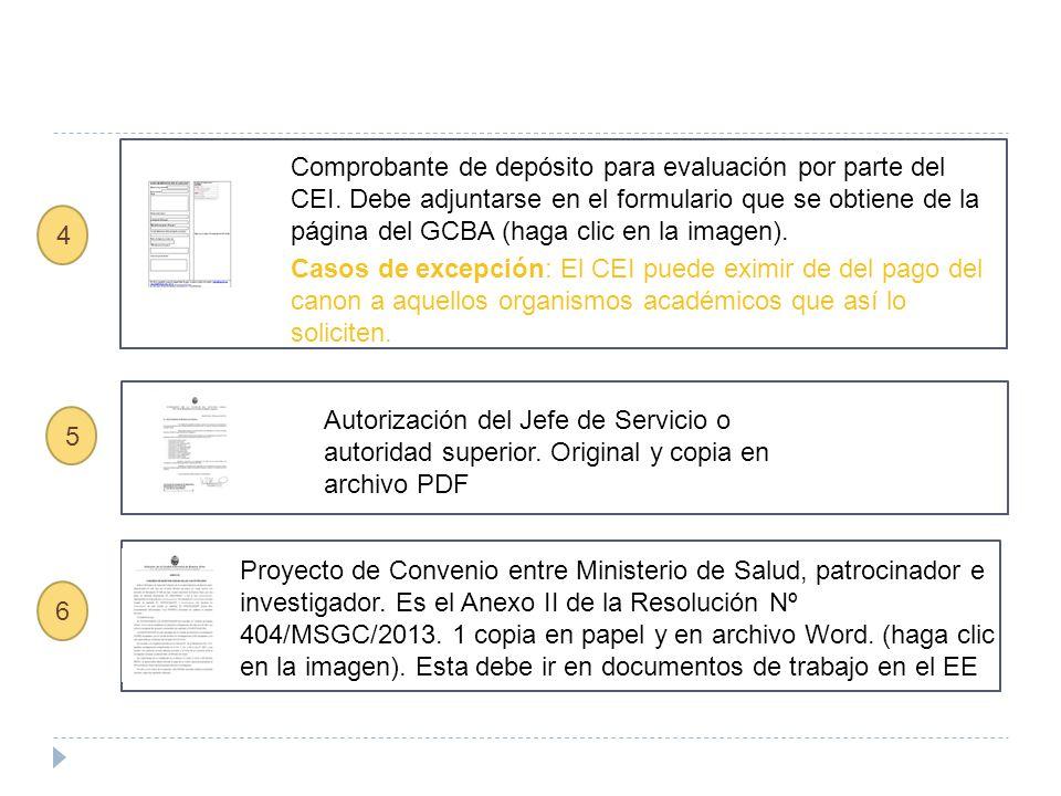 5 Autorización del Jefe de Servicio o autoridad superior. Original y copia en archivo PDF Comprobante de depósito para evaluación por parte del CEI. D