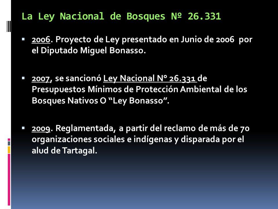 La Ley Nacional de Bosques Nº 26.331 2006. Proyecto de Ley presentado en Junio de 2006 por el Diputado Miguel Bonasso. 2007, se sancionó Ley Nacional